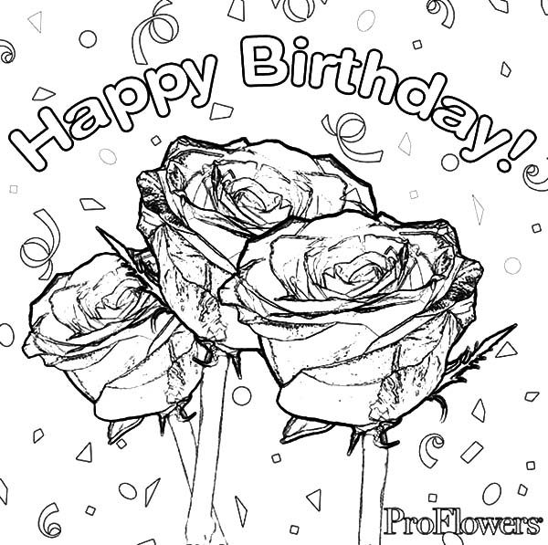 Birthday, : Roses for Birthday Party Coloring Pages