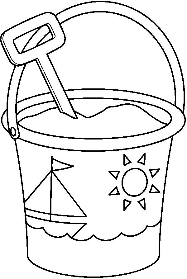 Bucket, : Sailship Decorated Bucket with Shovel Coloring Pages