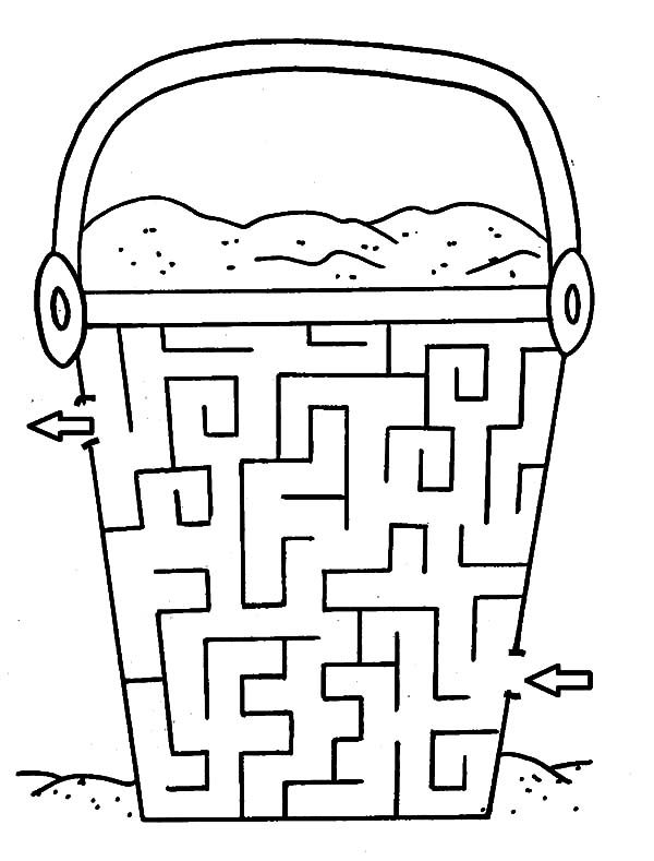Bucket, : Sand Bucket Maze Coloring Pages