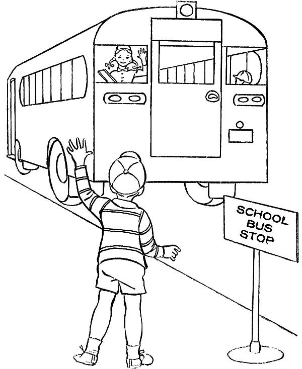 Bus Stop, : School Bus Stop Coloring Pages