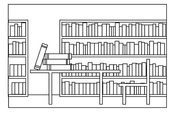 Bookshelf, : coloring page school subjects social studies
