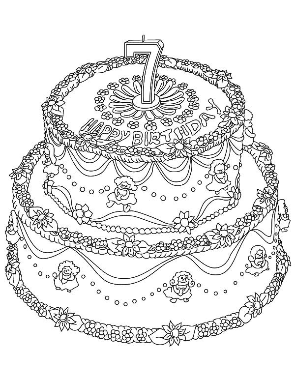 Cakes, : Seventh Birthday Cake Coloring Pages