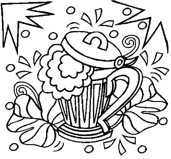 Beer, : Shamrocks Beer Coloring Pages