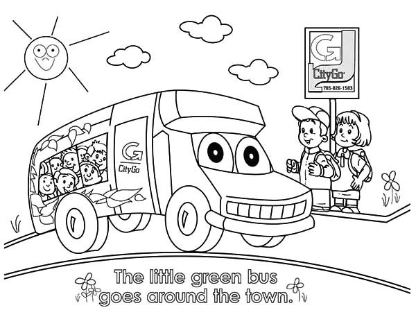 Bus Stop, : Shcool Bus Smile and Stop at Bus Stop Coloring Pages