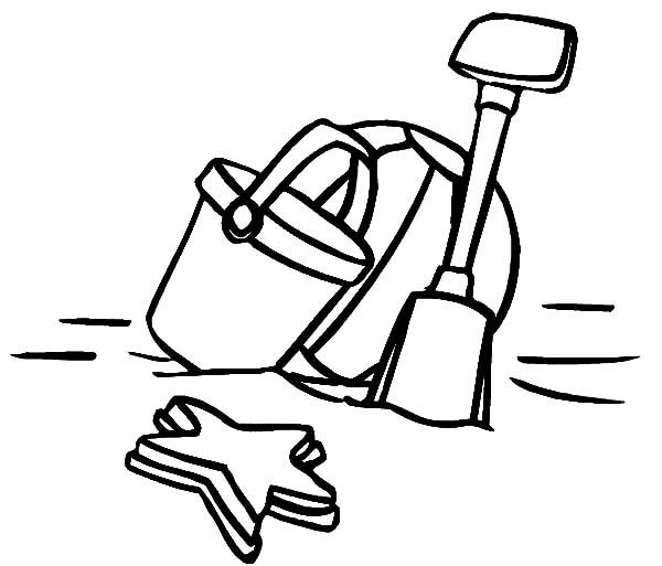 Beach Bucket, : Shcool Holiday Beach Bucket and Shovel Coloring Pages