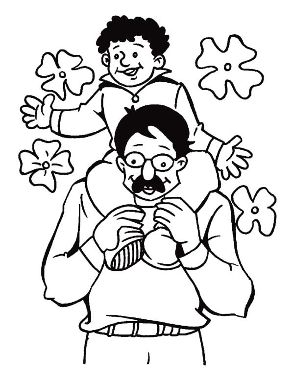 Best Dad, : Siiting on Best Dad Back Coloring Pages
