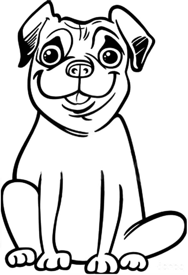 Boxer Dog, : Silly Face Boxer Dog Coloring Pages
