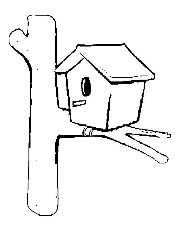 Bird House, : Simple Bird House Coloring Pages