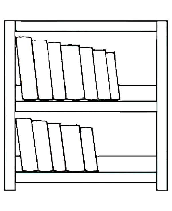 Bookshelf, : Simple Made Bookshelf Coloring Pages