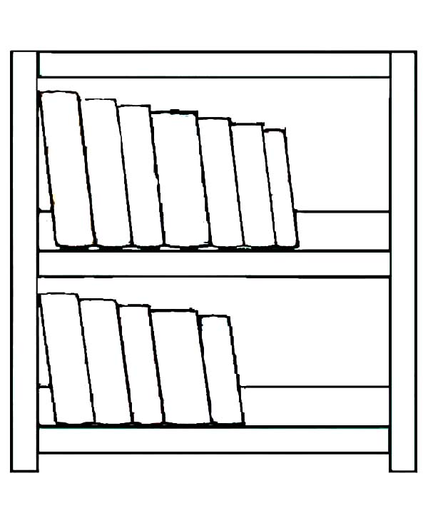 Bookshelf, Simple Made Bookshelf Coloring Pages: Simple Made Bookshelf Coloring PagesFull Size Image