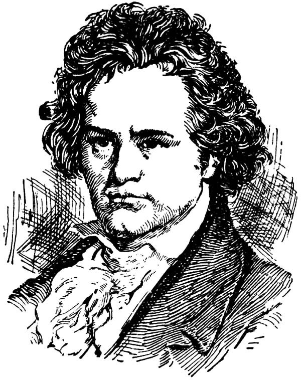 Beethoven, : Sketch of Beethoven Coloring Pages