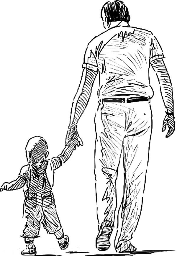 Best Dad, : Sketch of Best Dad Walking with His Baby Coloring Pages