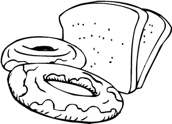 Bread, : Slices of Bread and Sweets Coloring Pages