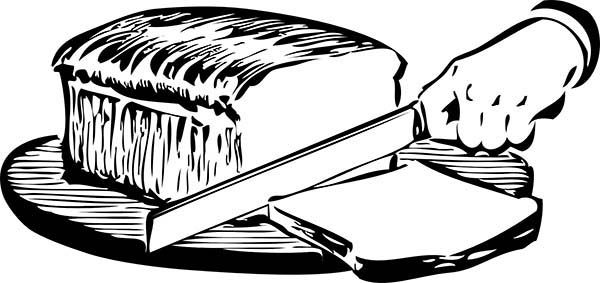Bread, : Slicing Bread with Sharp Knife Coloring Pages