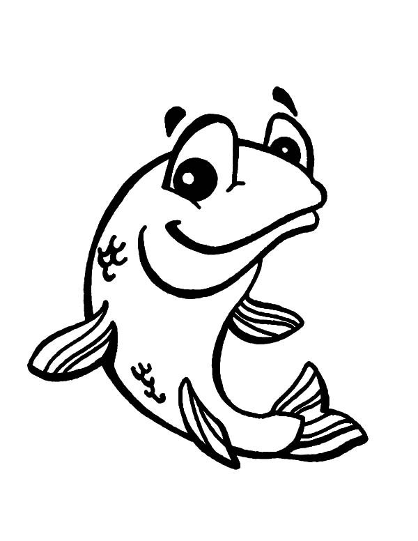 Bass Fish, : Smiling Bass Fish Coloring Pages