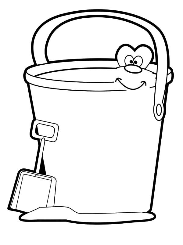 Beach Bucket, : Smiling Beach Bucket Coloring Pages