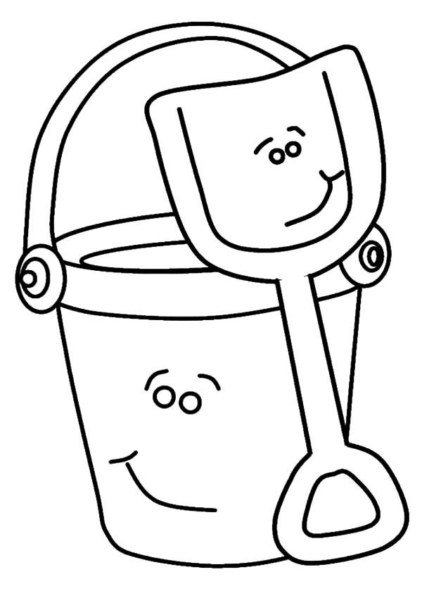 Smiling Beach Bucket and Shovel Coloring Pages Best