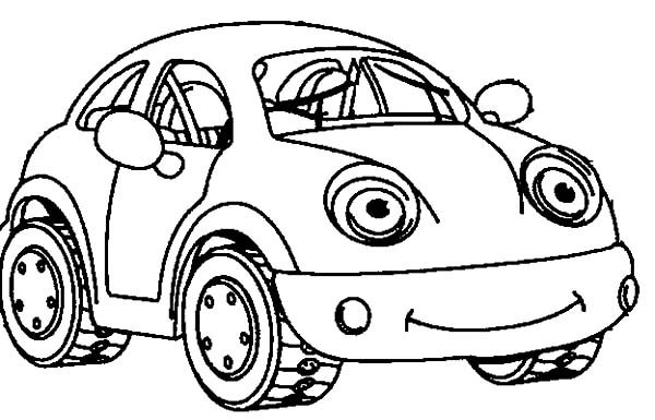 Beetle Car, : Smiling Beetle Car Coloring Pages