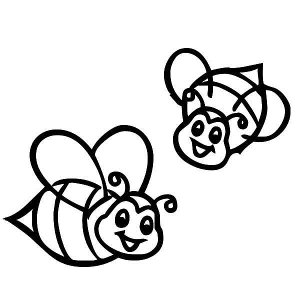 Smiling Bumble Bee Coloring Pages