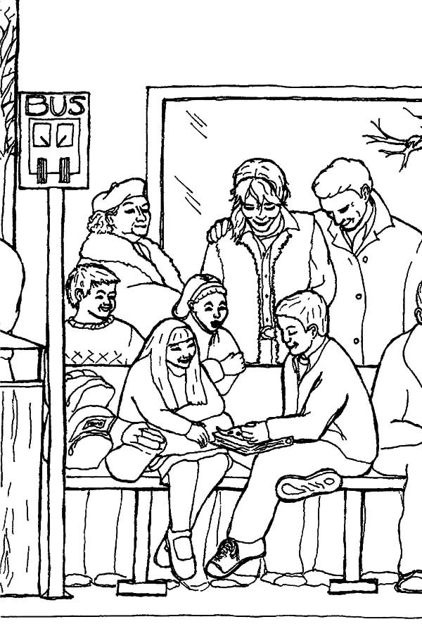 Bus Stop, : So Many People Sitting at Bus Stop Coloring Pages