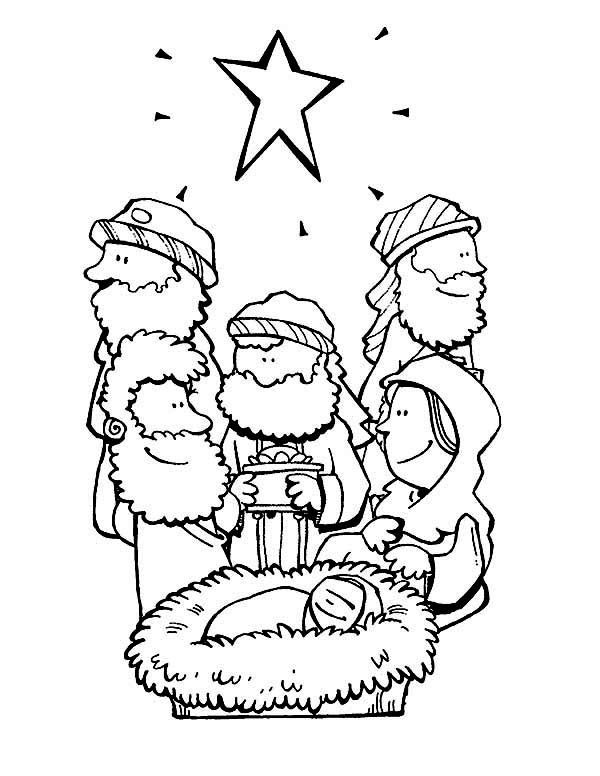 Bible Christmas Story, : Star of Bethlehem and Three Wise Men Bible Christmas Story Coloring Pages