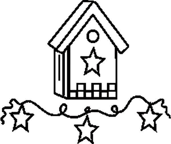 Bird House, : Starry Theme Bird House Coloring Pages