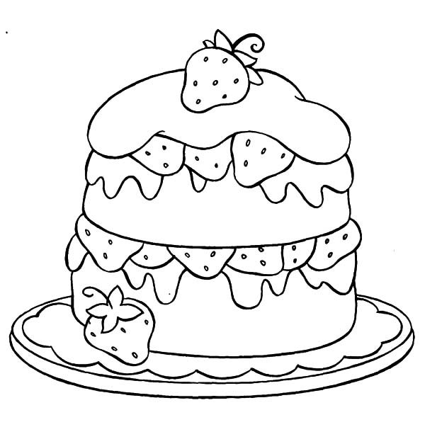 Cakes, : Strawberry Cake Coloring Pages