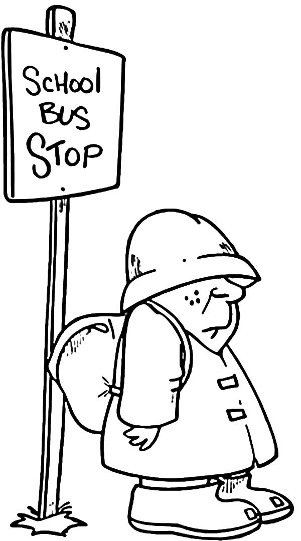 Bus Stop, : Student Waiting at School Bus Stop Coloring Pages