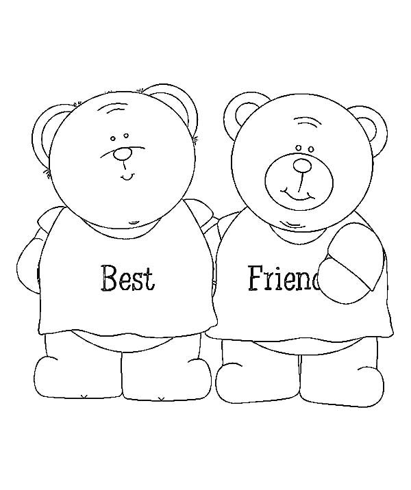 teddy bear best friends coloring pages