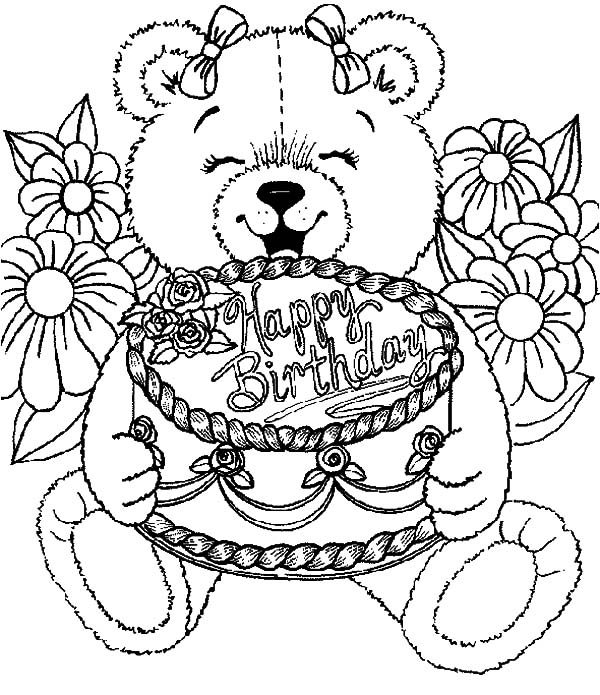 teddy bear birthday cake coloring pages - Birthday Cake Coloring Pages