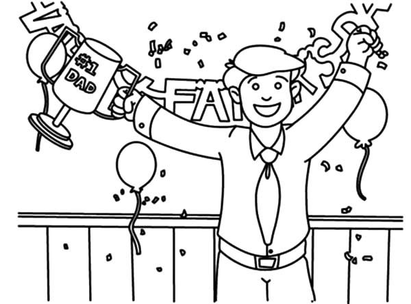 Best Dad, : The Best Dad Trophy Coloring Pages