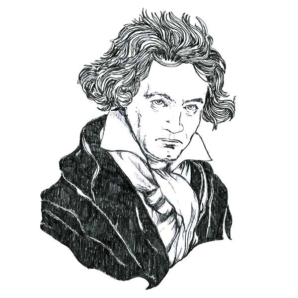 Beethoven, : The Famous Ludwig van Beethoven Coloring Pages