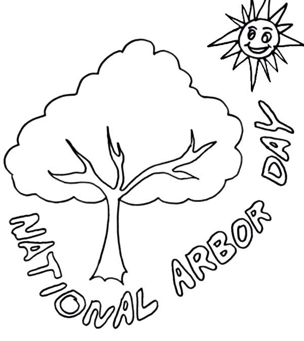 Arbor Day, : The Tree and the Sun on Arbor Day Coloring Pages