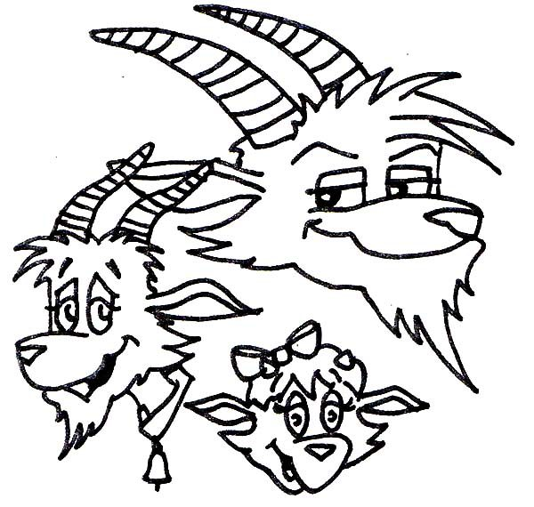 Billy the Goat, : Three Billy the Goat Brothers Coloring Pages