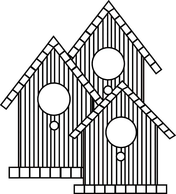 Bird House, : Three Bird House Coloring Pages