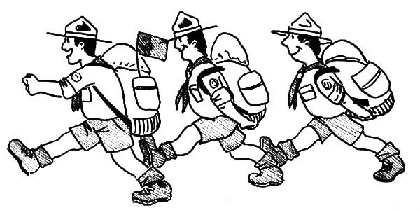 Boy Scouts, : Three Boy Scouts Walking Coloring Pages