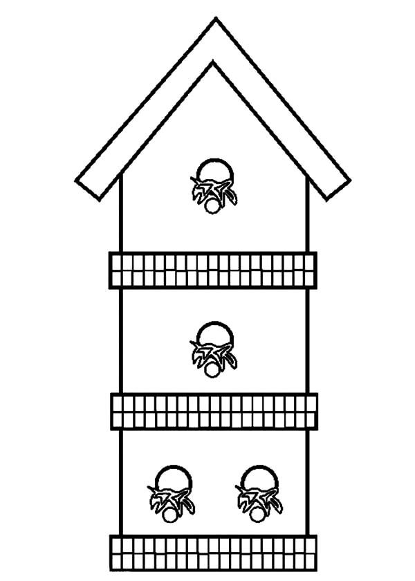 Bird House, : Three Story Bird House Coloring Pages