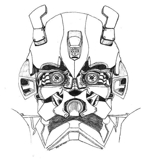 Transformers Bumblebee Car Head Picture Coloring Pages