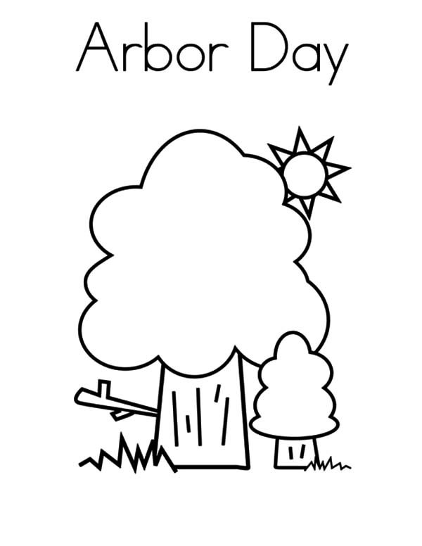 Arbor Day, : Trees on Sunny Day on Arbor Day Coloring Pages
