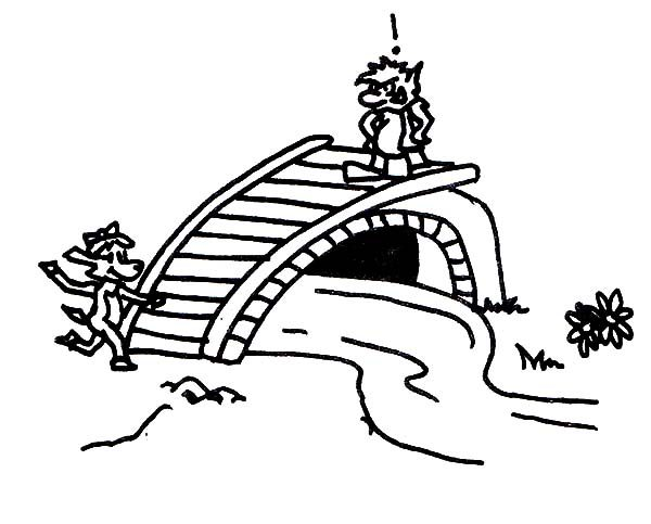 Billy the Goat, : Troll Blocking Billy the Goat Way Coloring Pages