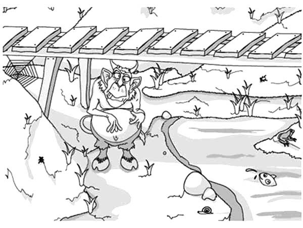 Billy the Goat, : Troll Under the Bridge Waiting for Billy the Goat Coloring Pages