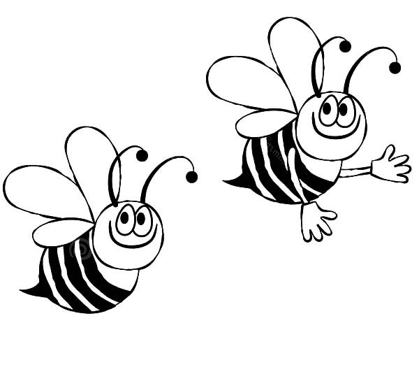 Two Bumble Bee Looking for Flowers Coloring Pages | Best Place to Color