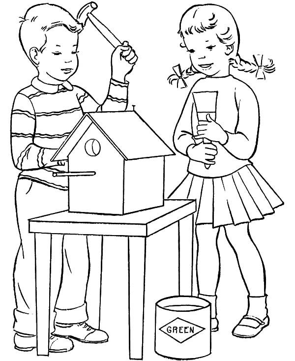 Bird House, : Two Kids Making Bird House Coloring Pages