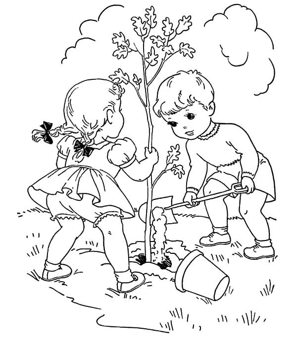 Arbor Day, : Two Little Kids Grow a Tree on Arbor Day Coloring Pages