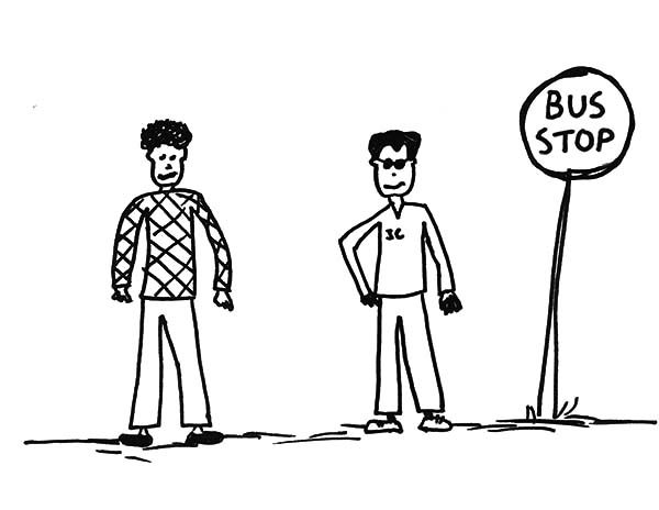 Bus Stop, : Two Man Wait for Bus Stop Coloring Pages