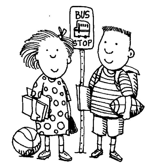 Bus Stop, : Two Pupils at Bus Stop Coloring Pages