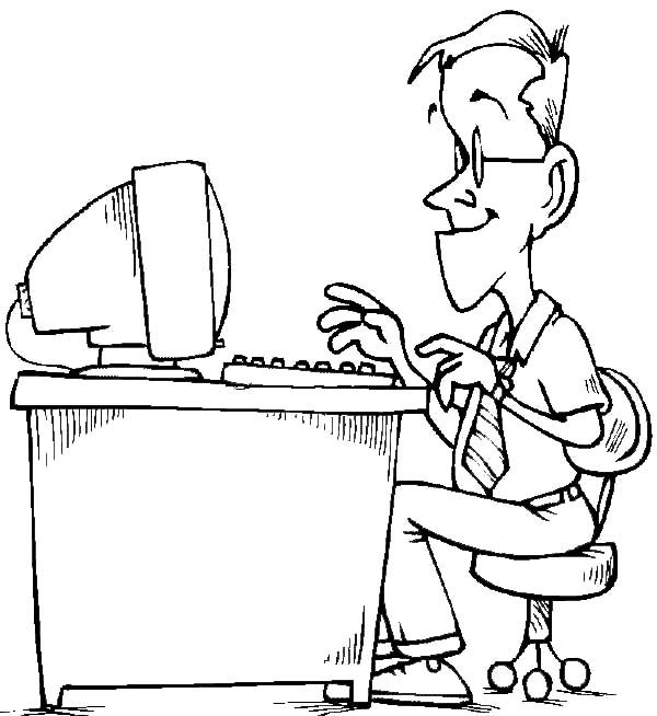 Business, : Typing Business Letter Coloring Pages