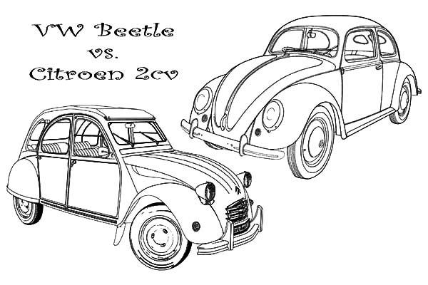 Beetle Car, : VW Beetle Car versus Citroen 2CV Coloring Pages
