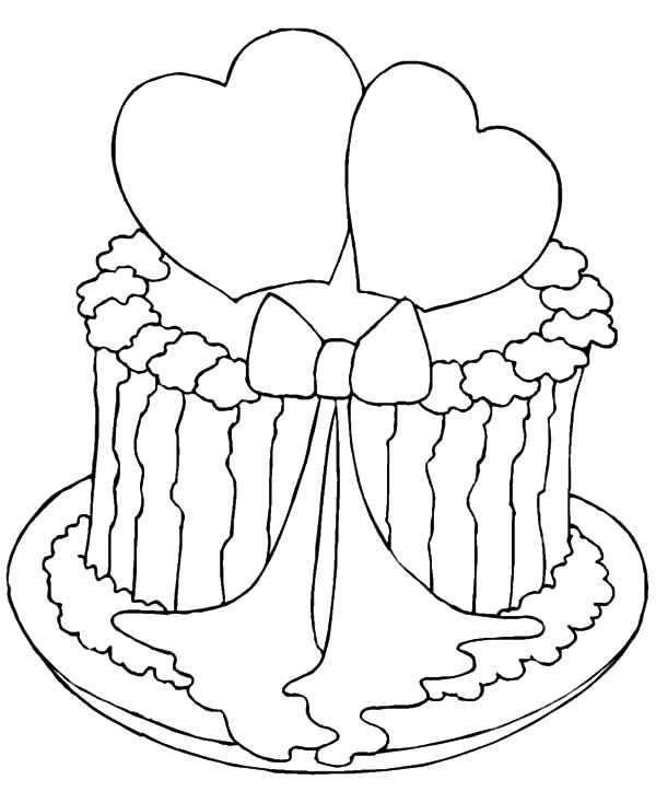 Cakes, : Valentine Cake Coloring Pages
