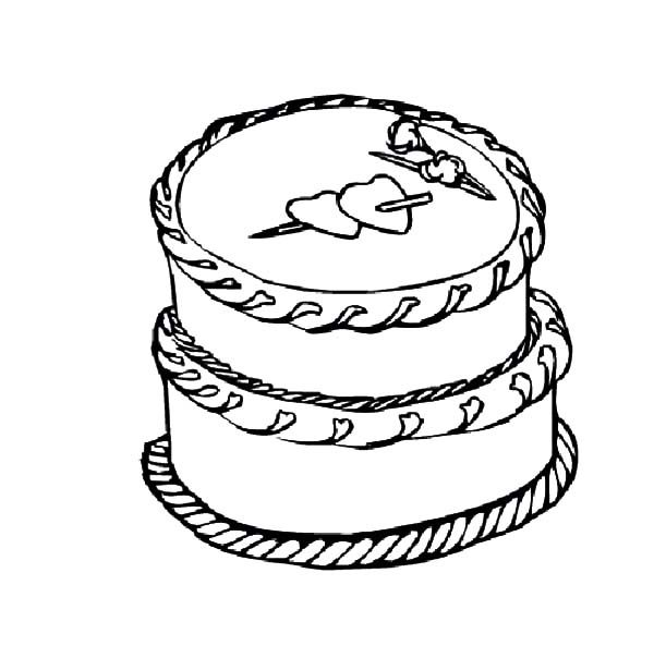 Cakes, : Valentine Cake for Love Ones Coloring Pages